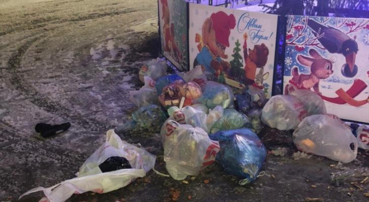 Владимирец оставил мешки с мусором под ёлкой у Белого дома