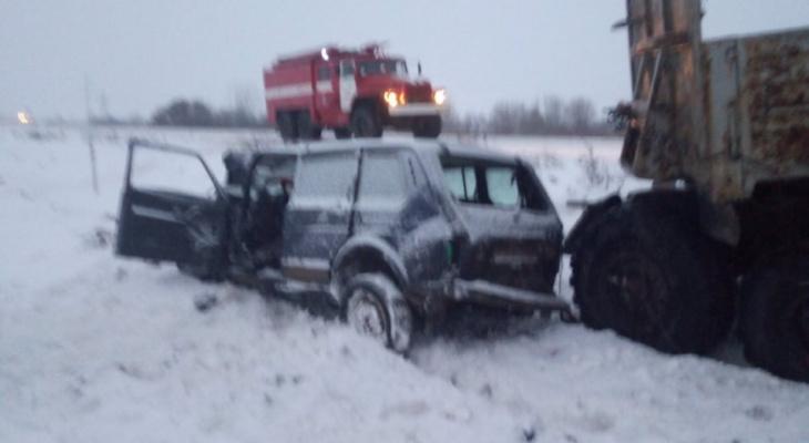В Собинском районе Нива столкнулась с грузовиком