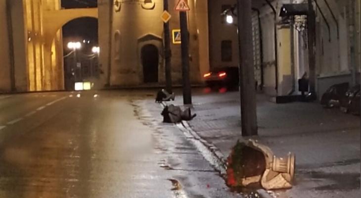 Во Владимире у Золотых ворот вандалы сломали вазы с цветами