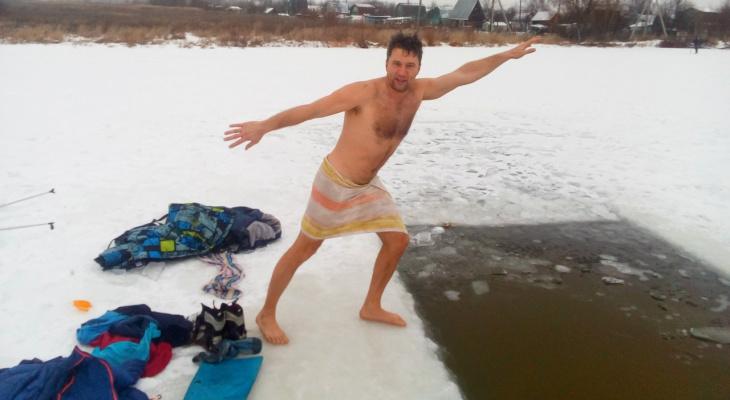 Владимирец отметил начало нового года в проруби