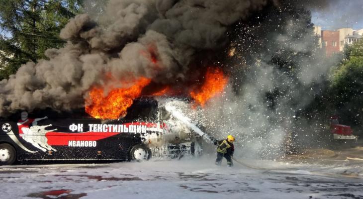 Во Владимире загорелся автобус с 32 детьми-футболистами